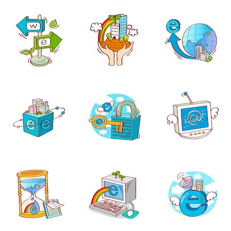 Set of various business related icons Stock Photo - Premium Royalty-Free, Code: 6111-06837085
