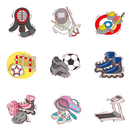roller skate - Set of various sport related icons Stock Photo - Premium Royalty-Free, Code: 6111-06837176