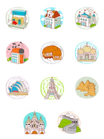 Set of various travel icons Stock Photo - Premium Royalty-Free, Code: 6111-06837188
