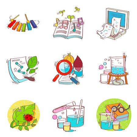 Set of various education related icons Stock Photo - Premium Royalty-Free, Code: 6111-06837130