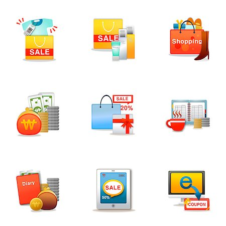 drawing computer - Set of various shopping related icons Stock Photo - Premium Royalty-Free, Code: 6111-06837241