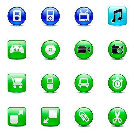 Set of various button icons Stock Photo - Premium Royalty-Free, Code: 6111-06837256