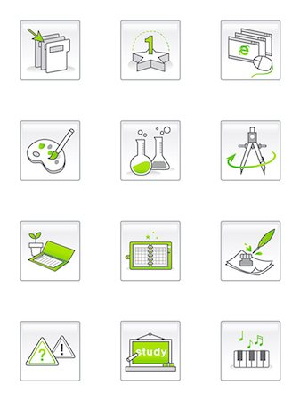 Set of various icons Stock Photo - Premium Royalty-Free, Code: 6111-06837287