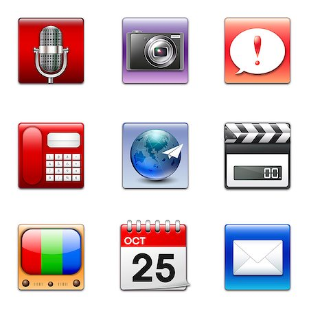 Set of various icons Stock Photo - Premium Royalty-Free, Code: 6111-06837289