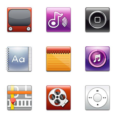 Set of various icons Stock Photo - Premium Royalty-Free, Code: 6111-06837297