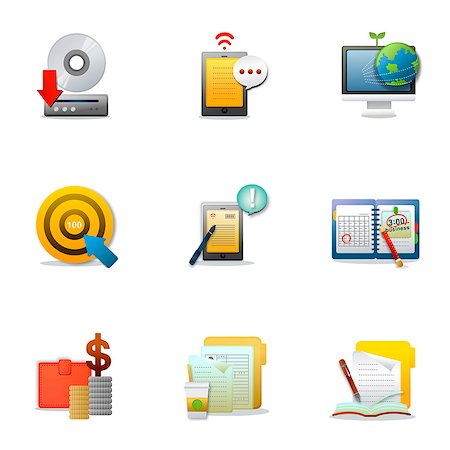 planner - Set of various business related icons Stock Photo - Premium Royalty-Free, Code: 6111-06837201
