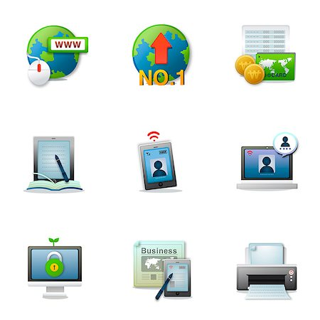 Set of various business related icons Stock Photo - Premium Royalty-Free, Code: 6111-06837202