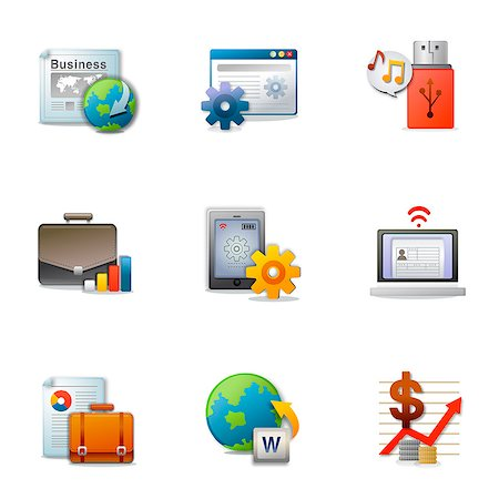Set of various business related icons Stock Photo - Premium Royalty-Free, Code: 6111-06837206