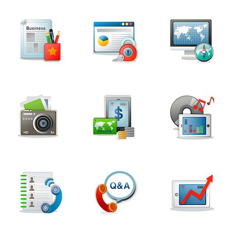 Set of various business related icons Stock Photo - Premium Royalty-Free, Code: 6111-06837209