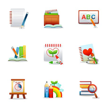 Set of various education related icons Stock Photo - Premium Royalty-Free, Code: 6111-06837231
