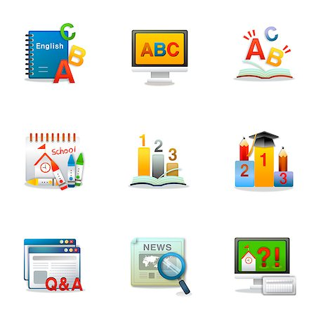 Set of various education related icons Stock Photo - Premium Royalty-Free, Code: 6111-06837232