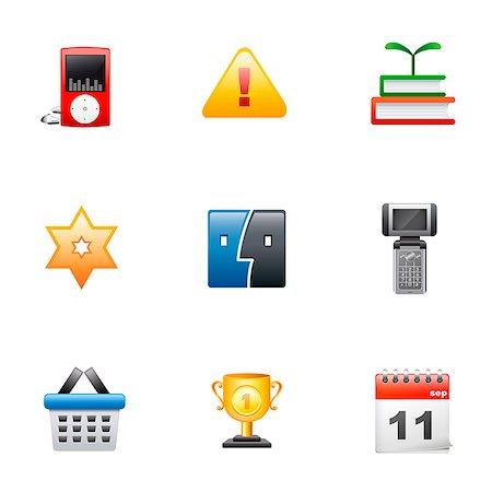 Set of various icons Stock Photo - Premium Royalty-Free, Code: 6111-06837306