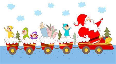 An illustration of Santa and his elves. Stock Photo - Premium Royalty-Free, Code: 6111-06837323