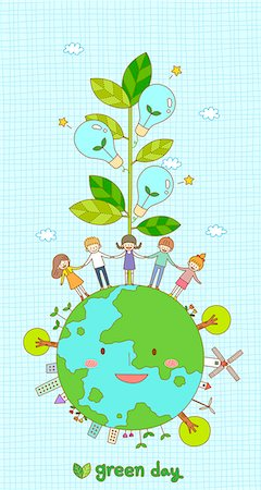An illustration representing ecology and renewable energy. Stock Photo - Premium Royalty-Free, Code: 6111-06837663