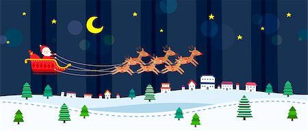 reindeer in snow - Santa Claus in sleigh Stock Photo - Premium Royalty-Free, Code: 6111-06837677