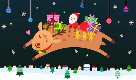 reindeer in snow - Santa Claus with gingerbread man and gift boxes flying with reindeer Stock Photo - Premium Royalty-Free, Code: 6111-06837683