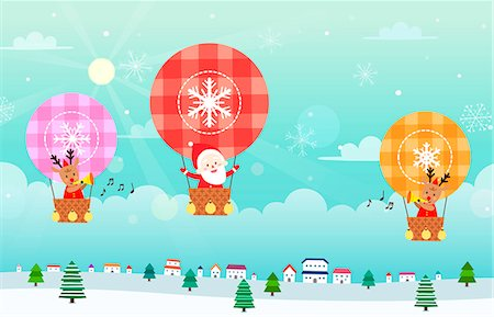 Santa Claus and reindeer sitting in hot air balloon Stock Photo - Premium Royalty-Free, Code: 6111-06837693