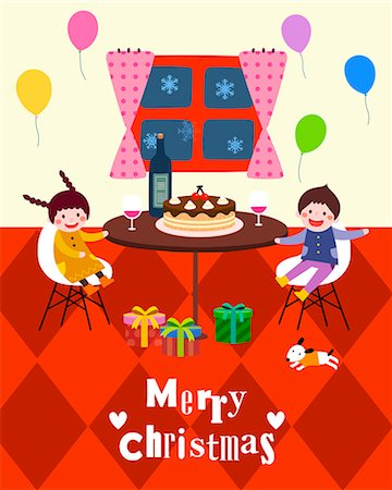 flying heart girl - Boy and girl celebrating Christmas Stock Photo - Premium Royalty-Free, Code: 6111-06837692