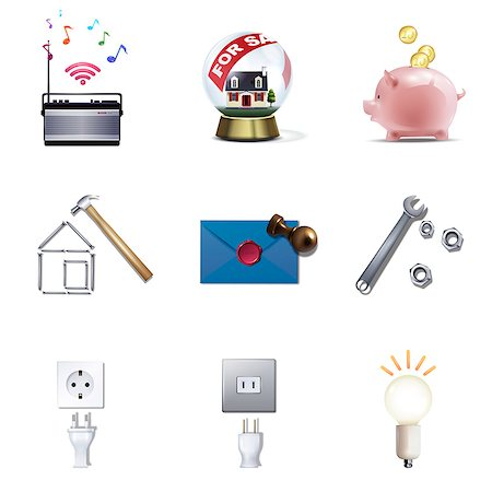 Set of various icons Stock Photo - Premium Royalty-Free, Code: 6111-06838085