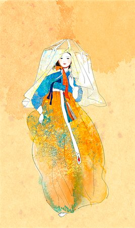 An illustration showing traditional Korean clothing. Stock Photo - Premium Royalty-Free, Code: 6111-06838154