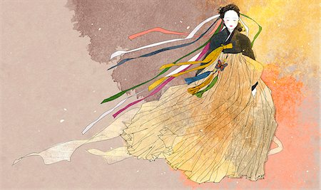 An illustration showing traditional Korean clothing. Stock Photo - Premium Royalty-Free, Code: 6111-06838155