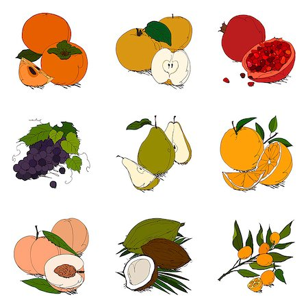 Set of various fruit related icons Stock Photo - Premium Royalty-Free, Code: 6111-06838199