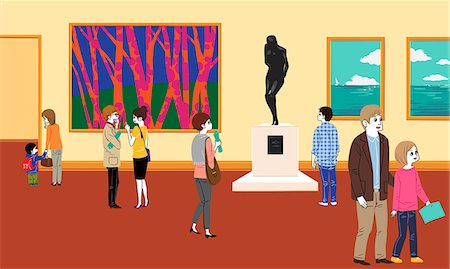 exhibition - People in museum Stock Photo - Premium Royalty-Free, Code: 6111-06838112