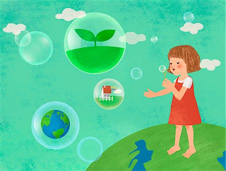drawing (artwork) - An illustration showing children engaging in an environmental issue. Stock Photo - Premium Royalty-Free, Code: 6111-06838284