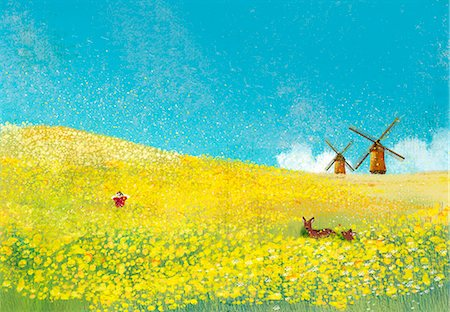 flower illustration - Scarecrow and deer in rape field with traditional windmill in background Stock Photo - Premium Royalty-Free, Code: 6111-06838396