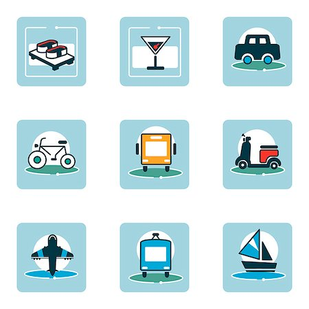 Set of various food and travel related icons Stock Photo - Premium Royalty-Free, Code: 6111-06838452