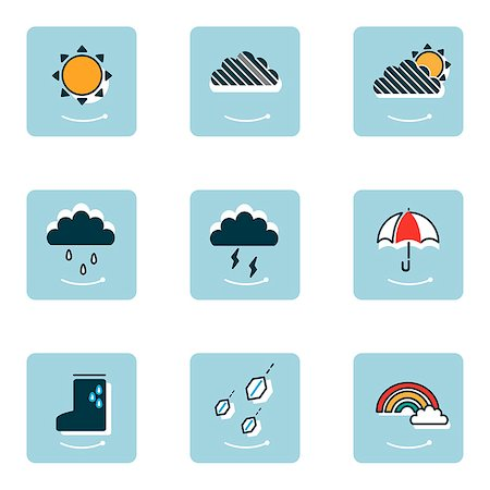 Set of various weather related icons Stock Photo - Premium Royalty-Free, Code: 6111-06838455