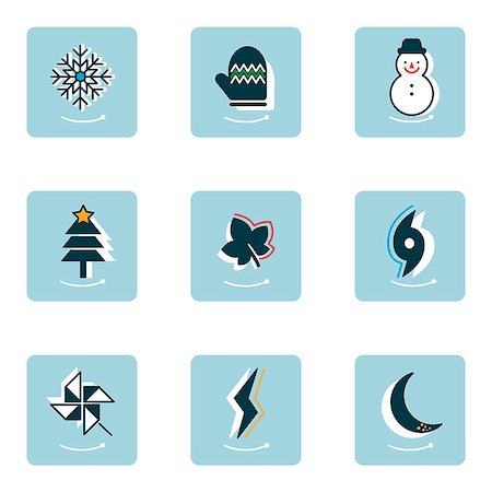 Set of various winter related icons Stock Photo - Premium Royalty-Free, Code: 6111-06838456