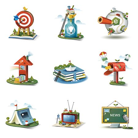 Set of various icons Stock Photo - Premium Royalty-Free, Code: 6111-06838486