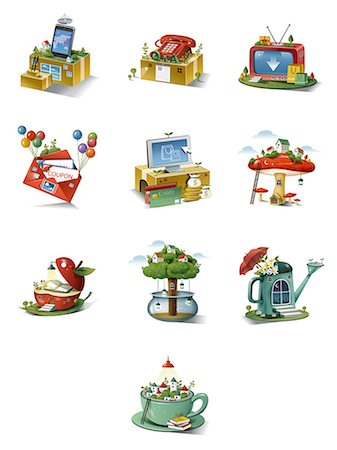Set of various icons Stock Photo - Premium Royalty-Free, Code: 6111-06838491