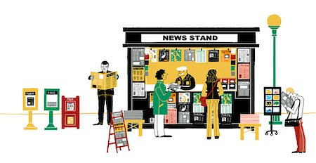 Illustration of news stand Stock Photo - Premium Royalty-Free, Code: 6111-06838497