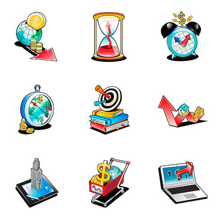 Set of various business related icons Stock Photo - Premium Royalty-Free, Code: 6111-06838407