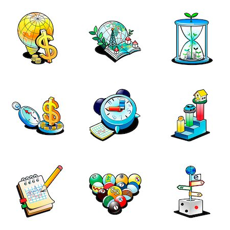 Various business related icons Stock Photo - Premium Royalty-Free, Code: 6111-06838410