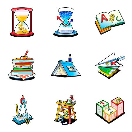 Various education related icons Stock Photo - Premium Royalty-Free, Code: 6111-06838415