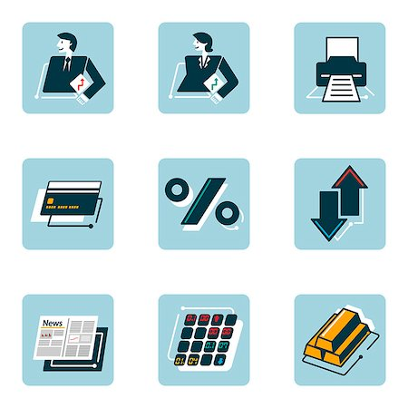 Set of various business related icons Stock Photo - Premium Royalty-Free, Code: 6111-06838421