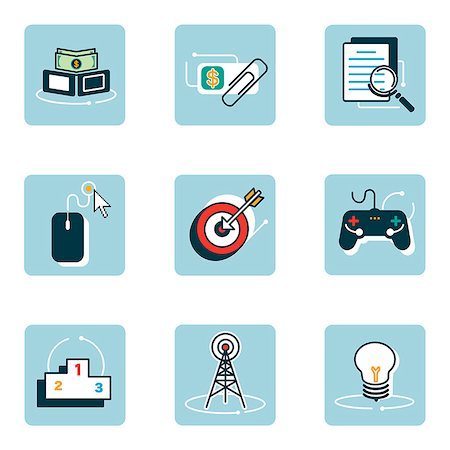 Set of various icons Stock Photo - Premium Royalty-Free, Code: 6111-06838426