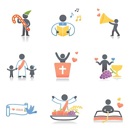 Set of various religion related icons Stock Photo - Premium Royalty-Free, Code: 6111-06838524