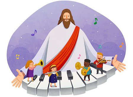 children playing musical instruments with jesus christ in background Stock Photo - Premium Royalty-Free, Code: 6111-06838681