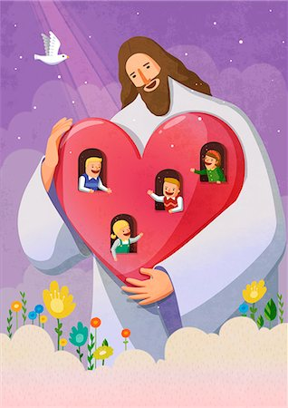 flying heart girl - Jesus christ holding red heart with window, children waving through window Stock Photo - Premium Royalty-Free, Code: 6111-06838682