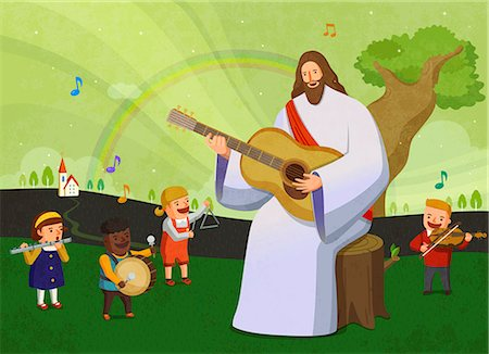 Jesus christ playing musical instruments with children Stock Photo - Premium Royalty-Free, Code: 6111-06838684