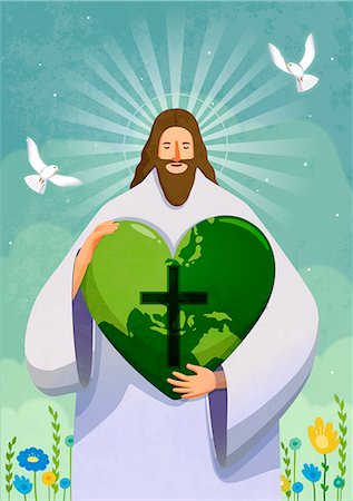 fly heart - Jesus christ holding green heart with cross sign Stock Photo - Premium Royalty-Free, Code: 6111-06838696