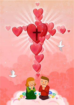 flying heart girl - Boy and girl praying with red hearts in background Stock Photo - Premium Royalty-Free, Code: 6111-06838698