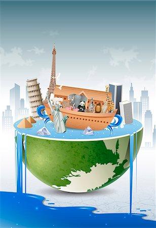 An illustration representing the impact of environmental damage. Stock Photo - Premium Royalty-Free, Code: 6111-06838602