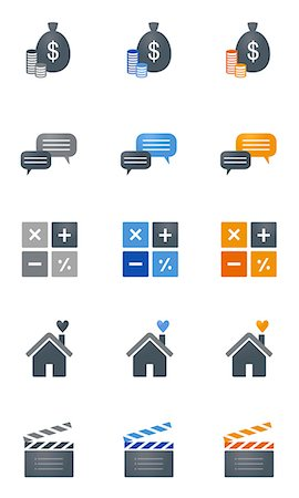 Set of various icons Stock Photo - Premium Royalty-Free, Code: 6111-06838703