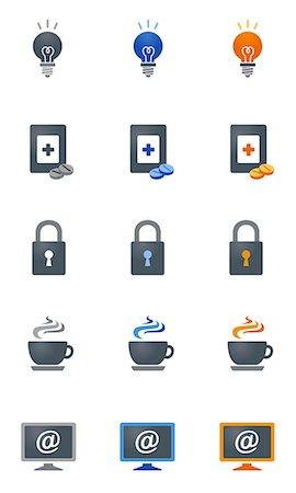 Set of various icons Stock Photo - Premium Royalty-Free, Code: 6111-06838704