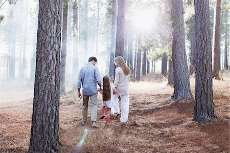 Family holding hands and walking in sunny woods Stock Photo - Premium Royalty-Free, Code: 6113-06498042